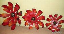 Cactus Flowers 3 Red Metal Handcrafted for Patio Art  or Indoor Art  Centerpiece