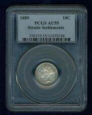 STRAITS SETTLEMENTS  1889  10 CENTS, ALMOST UNCIRCULATED,  CERTIFIED PCGS AU55
