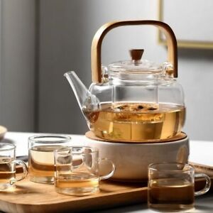 Glass Teapot With Glass Tea Infuser And Cups Borosilicate Heat Resistant Kettle