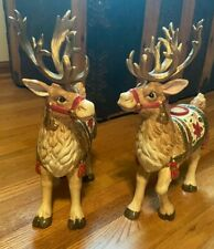 Fitz & Floyd Reindeer candlesticks Mint Condition collectibles Christmas decor