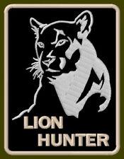 """LION HUNTER EMBROIDERED PATCH ~3-3/8"""" x 2-1/2"""" COUGAR PUMA PREDATOR AUFNÄHER GUN"""
