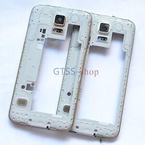 Middle Frame Bezel Plate Housing Cover Case + Camera Lens for Samsung S5 G900