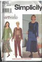 8246 UNCUT Simplicity Sewing Pattern Misses Pants Skirt Pullover Top Artworks