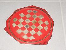Vintage FRENCH Enamelware Graniteware TRIVET - RED LUSTUCRU checked