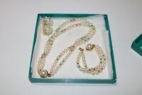 Vintage Faux Pearl Cluster Earrings, Necklace, Bracelet Set From Macys