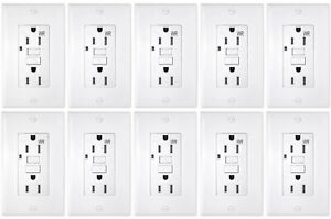 10 PACK 15AMP GFCI RECEPTACLE WALL OUTLET TAMPER RESISTANT 2015 UL WHITE