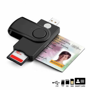 USB 2.0 Smart Card Reader Micro SD/TF Memory ID Bank Citizen Connector Adapter