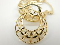 14K Gold Diamond Cut Filigree Hoop Earrings