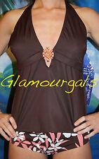 New MagicSuit Magic Suit / Victorias Secret Brown Jeweled Tankini Sz 6 / Medium