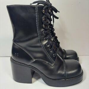 Vtg Frye Villager Black Leather boots 7.5M women chunky heel y2k zip BoHo Ankle