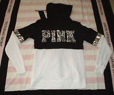 NWT VICTORIA SECRET PINK Black White Zebra Sequin Full Zip Hoodie Jacket XS NEW