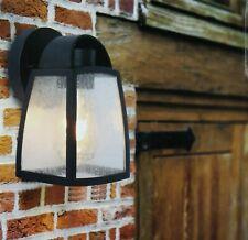 Lutec Kelsey Outdoor Coach Light Black with Textured Glass IP44 Weatherproof