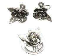 Coro Vintage Pendant Clip Earring Set Silver Flower Rose Designer Jewelry 941f