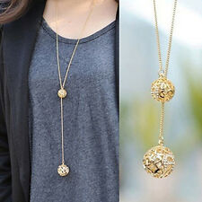 Women's Fashion Jewelry Gold Plated Long Double Ball Pendant Necklace 47-3