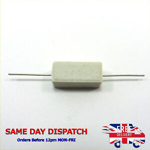5W Power Wirewound Horizontal Cement Ceramic Resistors 0.1 - 100K Ohm Values