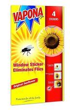 4 Vapona Fly Killer Sunflower Window Sticker Trap Catcher Eliminates Flies Wasp