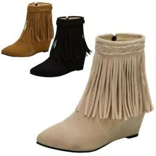 Women Comfort Outdoor Pointy Toe Wedge Heel Zip Up Tassels Fringe Ankle Boots D