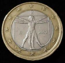 Monnaie 1 Euro fauté Italie 2002 tranche en roue de wagon semi-hors virole R53