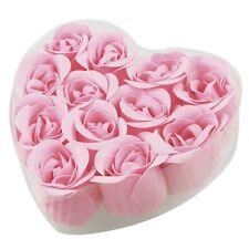 12 Pcs Bathing Pink Rose Bud Flower Petal Soap + Heart Shape Box LW