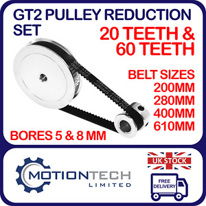 GT2 Pulley Reduction Set T20 & T60 pulley 6mm Wide belts 200-610mm long 3D print