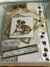BIRTHDAY, HANDMADE GOLD EMBOSSED BULLDOG OR A FUN LOVING BOXER DOG CARD