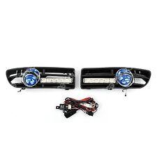 Pair Blue Fog Light 6LED Front Bumper Grille DRL Set For VW Jetta Bora Mk4 99-04