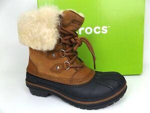Crocs Allcast II Luxe Duck Boots Womens SZ 5.0  Lined Fur Trim Waterproof, 17753