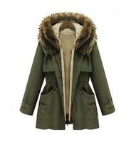 Thick Military Jackets Fleece Hood Lamb Womens Winter Coat faux  Fur Parka