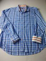 Robert Graham X Mens Tailored Fit Shirt Size 2XL XXL Blue Check Long Sleve