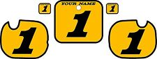 1984 HONDA CR 250 Number Plate Backgrounds Yellow with Black Bold Pinstripe