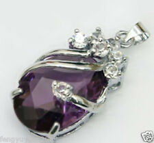 hot     Solitaire purple  Silver Crystal Pendant With Necklace