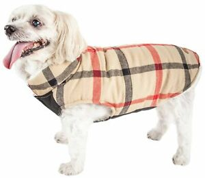 Pet Life  'Allegiance' Classical Plaided Insulated Dog Coat Jacket, White And...