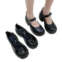 Women Japanese Round Toe Mary Jane Lolita Low Heel Buckle Strap Platform Shoes D