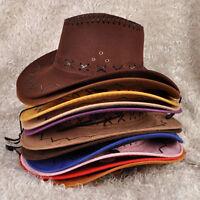 Vintage Men's Retro Western Cowboy Faux Suede Hat Wide Brim Cap Hats