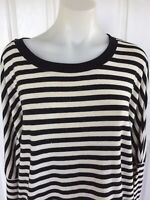 Bardot Black and White Strip Long Sleeve Top Size 12 Oversize