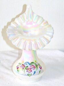 Vintage Fenton Jack in the Pulpit Artist Signed Iridescent Carnival Glass Vase