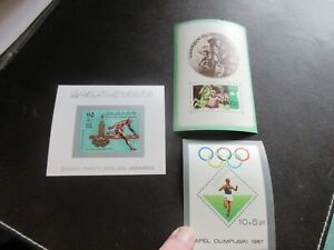 STAMP MINISHEETS x 3, MIXED WORLD VARIOUS SPORTS, - VERY GOOD