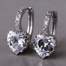 18CT White Gold filled Heart Earrings Special Occasion Gift gf