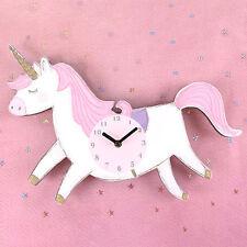 Unicorn Shaped Wall Clock Children's Kids Pink Unicorns Magical Quality Gift New