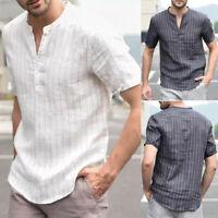 Men's Casual Linen V Neck Short Sleeve Tops  Basic Tee T-shirt Blouse Summer
