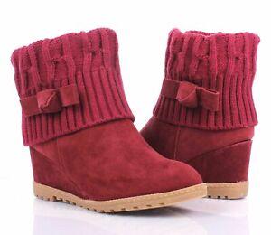 Wine Sweat Yarn Slip On Bendable Shaft Pull-On Womens Wedge Heels Boots Size 7.5
