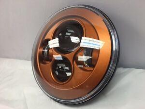 "Harley Davidson 7"" Whiskey Amber LED Headlight - Custom Color Match Daymaker"