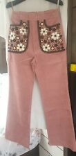Leith orla Kiely Embroidered Cordutoy Florence Moon Trouser Size10