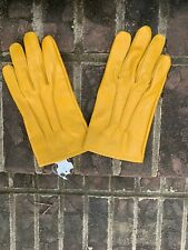 Men's Yellow Leather Dress Gloves Size Medium