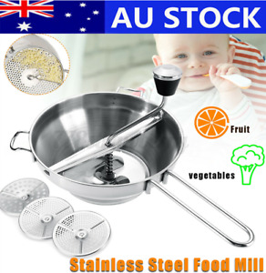Food Mill Mouli Polished Vegetable Potato Ricer Mixer Stainless Steel w/ 3xDiscs