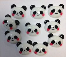 10 Pandas Resin Flatback Cabochon Embellishment -craft bow hair phone decoration