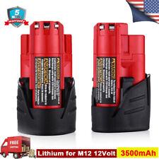 2Xfor Milwaukee 48-11-2401 M12B Fuel Impact Drill 3.5A 48-11-2412 Li-Ion Battery