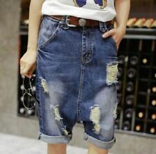 Womens Capri Turn Up Cuff Ripped Harem Jeans Boyfriend Shorts Denim Hot Pants