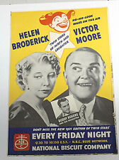 Vintage 1937 NATIONAL BISCUIT CO. BLUE NETWORK TV POSTER