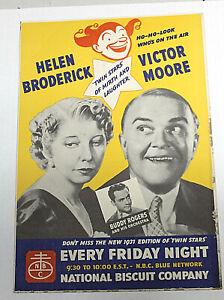 Vintage 1937 NATIONAL BISCUIT CO. BLUE NETWORK TV POSTER